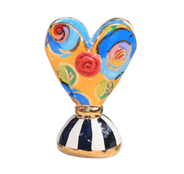 Baby Heart Vase In Blue And Yellow Mary Rose Young