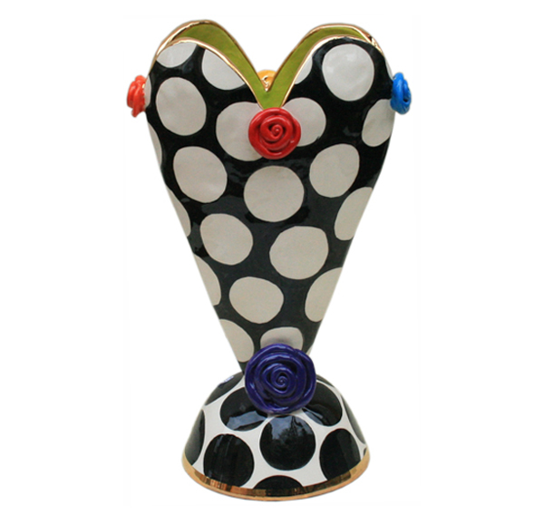 Medium Heart Vase In Big White Dots Mary Rose Young
